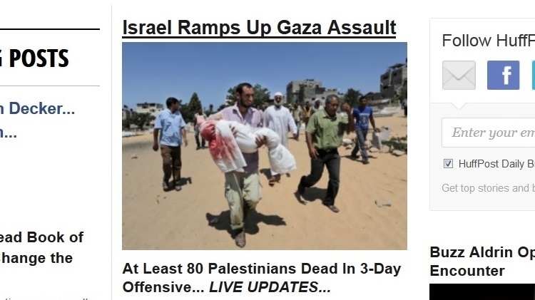 """A headline from the July 10, 2014 front page of the Huffington Post, a notorious inciter of anti-Israel hatred."""" width=""""500"""" height=""""298"""" /> A headline from the July 10, 2014 front page of the Huffington Post, a notorious inciter of anti-Israel hatred."""