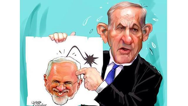 From an Iranian newspaper - Netanyahu sweats while Zarif laughs