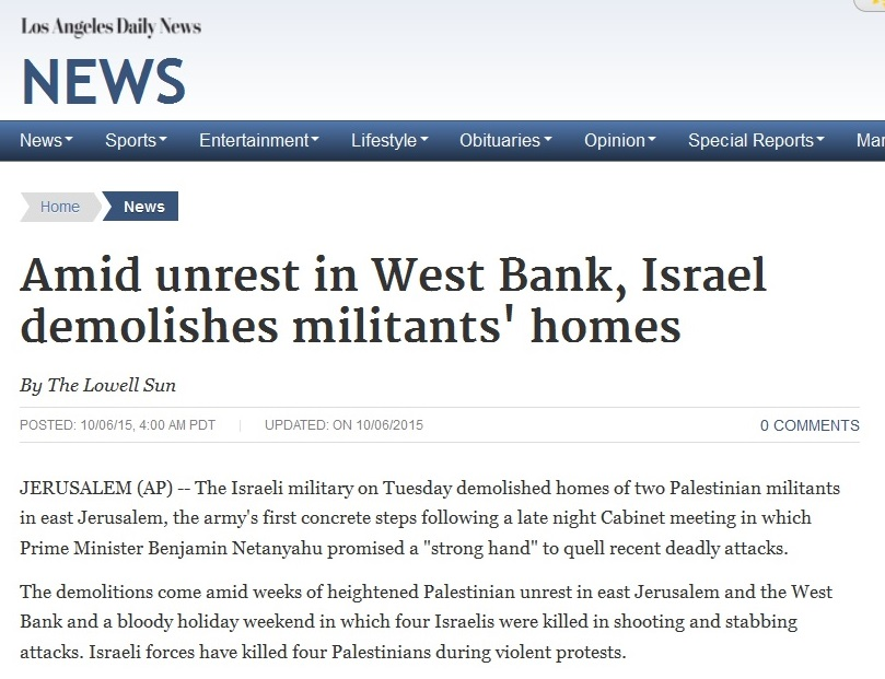 06Oct15 LA Daily News AP article re destroying militant homes - callout