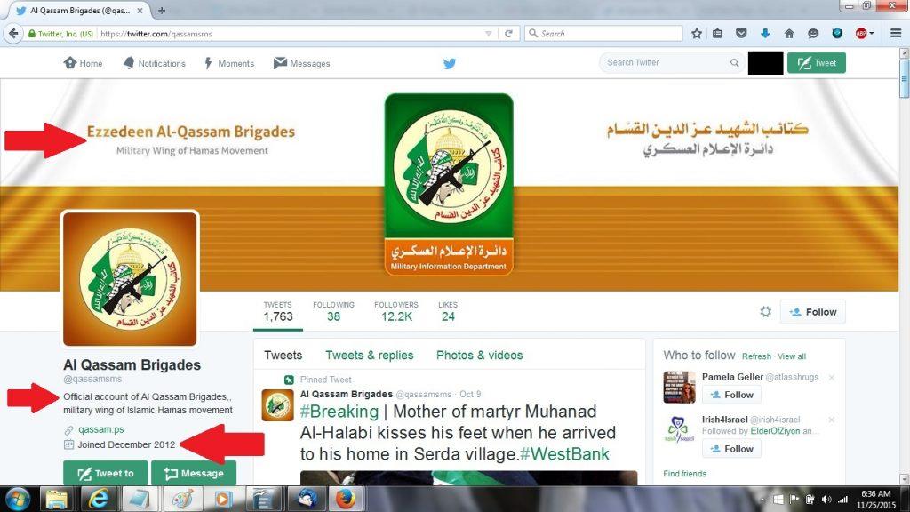 25Nov15 Hamas Al Qassam Brigade on Twitter since Dec2012
