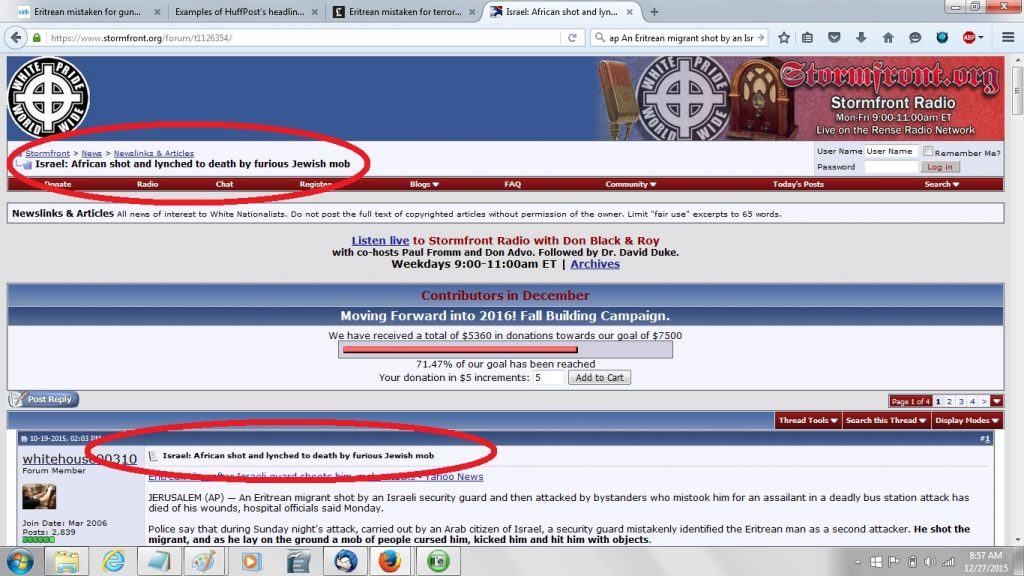 19Oct STORMFRONT EMULATED HUFFPOST re Eretrian accidentally killed