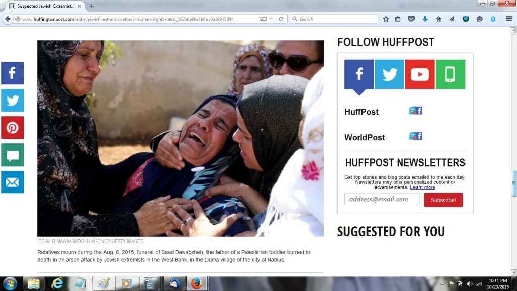 23Oct FPHL JEWISH EXTREMIST ATTACKS - storypage faces crying for dead Palestinian
