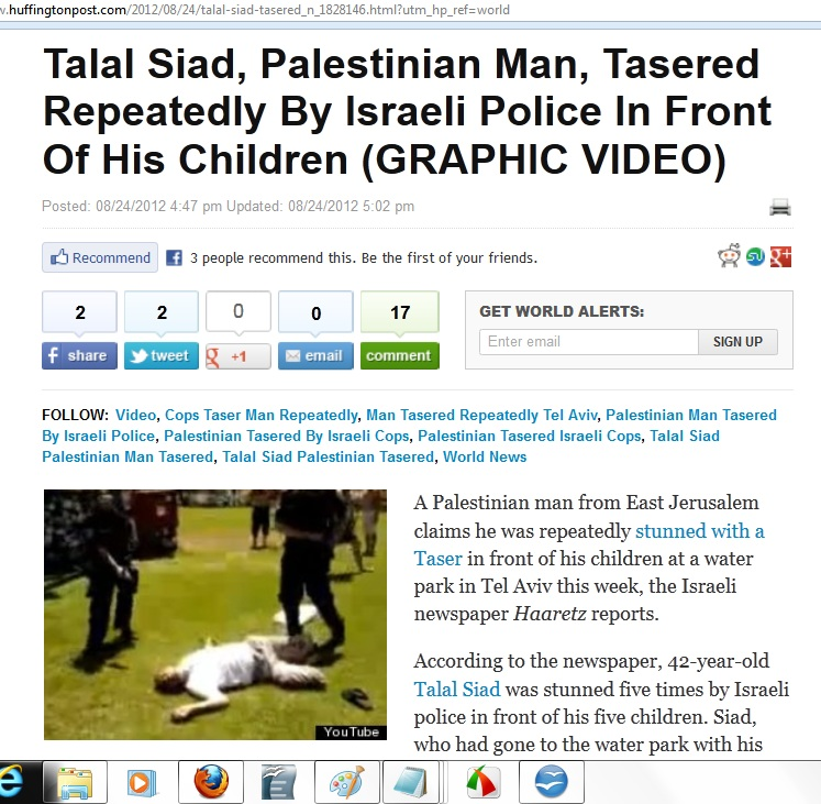 24Aug storypage Palestinian tasered by Isr Police