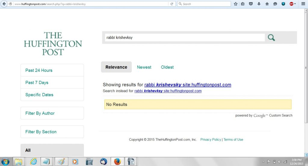 HuffPost search Rabbi Krishevsky 24Dec15 - Nothing