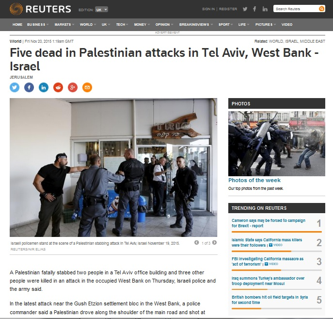 Reuters source article - PALESTINIAN ATTACKS