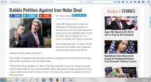 23Aug 800 RABBIS PETITION AGAINST IRAN DEAL - HP nothing